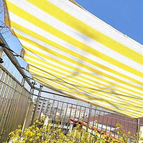Velas de Sombra Refugios Exteriores con Ojales, Toldos de Tela con Franjas Amarillas Y Blancas para La Cubierta de La Piscina Al Aire Libre Interior, Tela de Malla de Red De Balcón (Size : 4×4m)