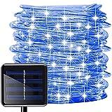 Oluote Luces de Cuerda Solar, Impermeable al Aire Libre 200 LED 20 M 2 Modos, Luces de hadas, Tubo de Luz de PVC para La Fiesta de Boda del Arbol de la Cerca del Jardín (Azul, 20M)