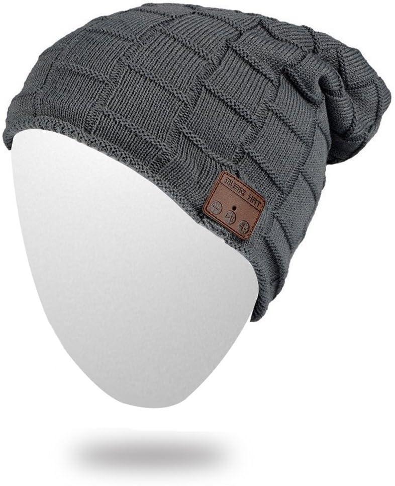 BearsFire Wireless Music Hat Beanie with Bluetooth Headphone Headset Stereo Speaker Mic Hands-Free, Unisex Winter Thick Skull Hat Outdoor Sport Soft Knit Cap for Men Women (Dark Gray)