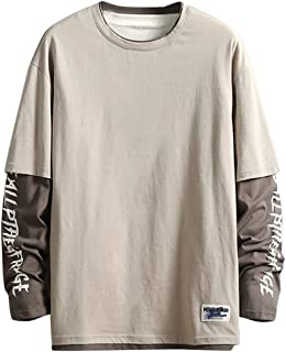 kaifongfu Men Solid Color Shirt with Letter Printed Loose Comfortable Long Sleeve Tops