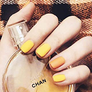 Barode Yellow 24Pcs False Nails Matte Full Cover Short Square Coffin Natural False Acrylic Blue Fake Nail for Women and Girls (Yellow Orange)