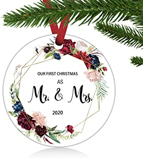 """Best ZUNON Our First Christmas as Mr & Mrs Ornament 2020 Couple Married Wedding Ornament Tree Decoration 3"""" Ornament (Red-Mr & Mrs) Review"""