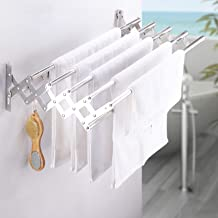 Stainless Steel Space-Saving Towel Rack Wall Mounted Retractable Huge Capacity Drying Rack for Laundry, Bedroom Pool Area ...