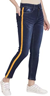 Lady Stark Women's Wear Skinny Jeans with Yellow Lace in Navy Blue Color