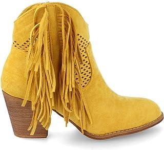 f77677f8f6d5c Buonarotti Bottines Femme Western Perfores Santiags A Talon Carres Bottes a  Franges Chaussure de Mode Printemps