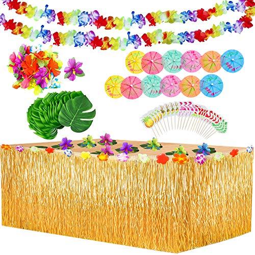 Yojoloin 102 Pezzi Gonna Tavolo Hawaiana Tovaglia da Tavolo Set,Foglie di Palma Fiori hawaiani Cake Topper, Ghirlande Banner Luau per...