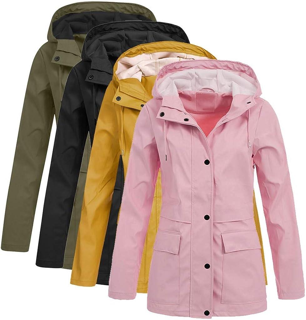 TWIFER Damen Windjacke wasserdichte und Winddichte Jacke Atmungsaktivität Outdoorjacke Jacke mit Kapuze B-rosa
