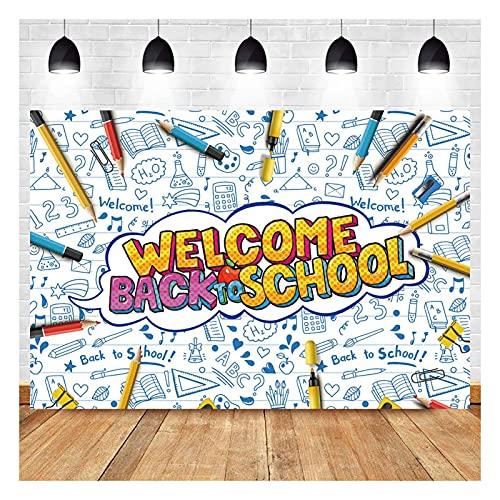 Welcome Back to School Theme Photography Backdrops Kids Kindergarten Back to School First Day Blackboard Photo Background 5x3ft School Classroom Decor Supplies Student Studio Shoot Props Vinyl