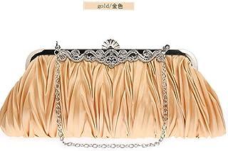 Shoulder Bag Women Silk Cocktail Evening Clutches Purse Bag Handbags Handbag Clutch (Color : Gold)