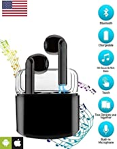 Priish® v.5.1.HQ 2020 Upgraded Version TWS Sound Wireless Bluetooth Earphone Earbud Portable Headphone Handsfree Sports Running Sweatproof Compatible iOS Android Smartphone Active Noise Cancellation Charging Case (Black/White)