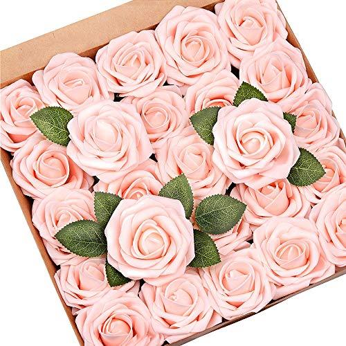 Mocoosy 50Pcs künstliche Rosenblüten, erröten rosa Rosen Real Touch Foam gefälschte Rose Bulk mit Stiel für Hochzeitssträuße Mittelstücke Brautdusche Party Home DIY künstliche Blumendekoration