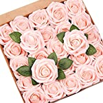 Mocoosy 50Pcs Artificial Rose Flowers, Fake Roses Real Touch Foam Latex Rose Bulk with Stem for Wedding Bouquets Centerpieces Party Home Artificial Rose Flower Arrangements Decoration