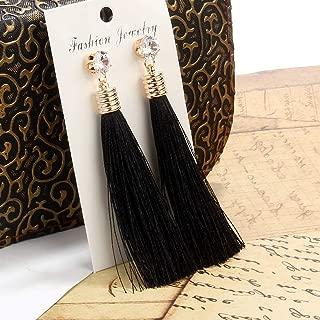 2019 Long Boho Pendientes Bohemia Tassle Earing Bohemian Fringe Tassel Earrings for Boucle d'oreille Femme Women Drop Dangle Earring Jewelry Wedding Fringed Gifts (Black)