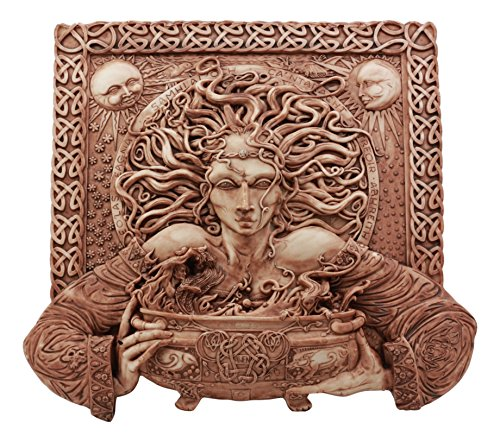 Ebros Celtic Goddess of Rebirth Cerridwen with Magical Potions Cauldron Wall Decor in Clay Finish Hanging Sculptural Plaque