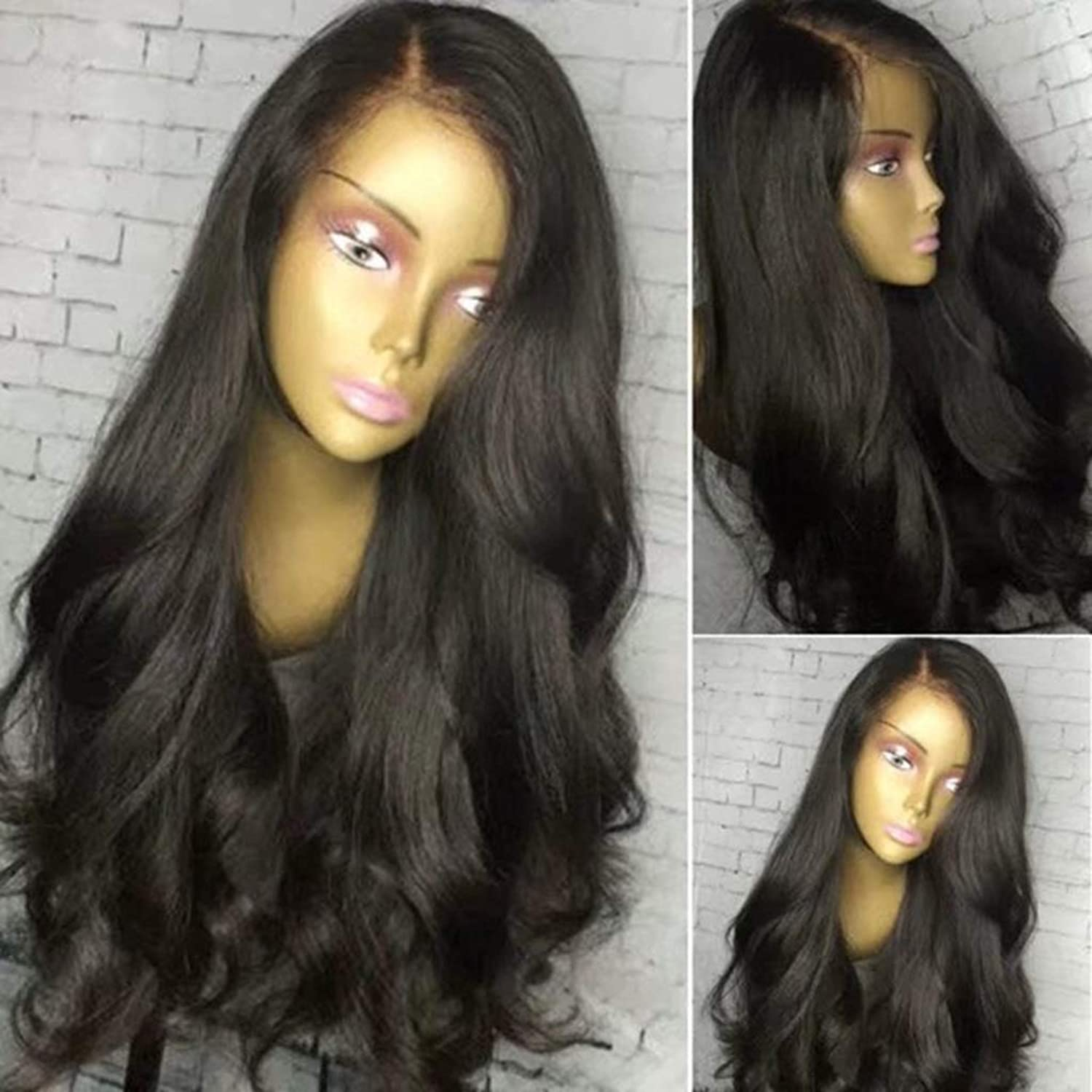ZDNALS Wig, Natural Big Wavy Curly Hair Outdoor Female Natural Big Wavy Synthetic Lace Front Wig 24 Inches wig