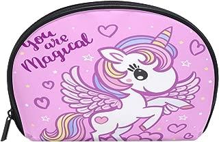 ALAZA Magical Unicorn Half Moon Cosmetic Makeup Toiletry Bag Pouch Travel Handy Purse Organizer Bag for Women Girls