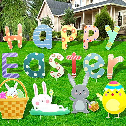 15PC Happy Easter Outdoor Decorations Easter Yard Stakes Yard Signs Outdoor Decal Yard Signs for Easter Yard Lawn Party Decorations Alphabets Rabbits Chicken Egg Basket Waterproof Easter Garden Decals