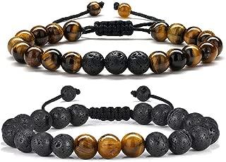 Tiger Eye Mens Bracelet Gifts - 8mm Tiger Eye Lava Rock Stone Mens Anxiety Bracelets, Stress Relief Adjustable Tiger Eye Bracelet Aromatherapy Essential Oil Diffuser Lava Bracelet Gifts for Men