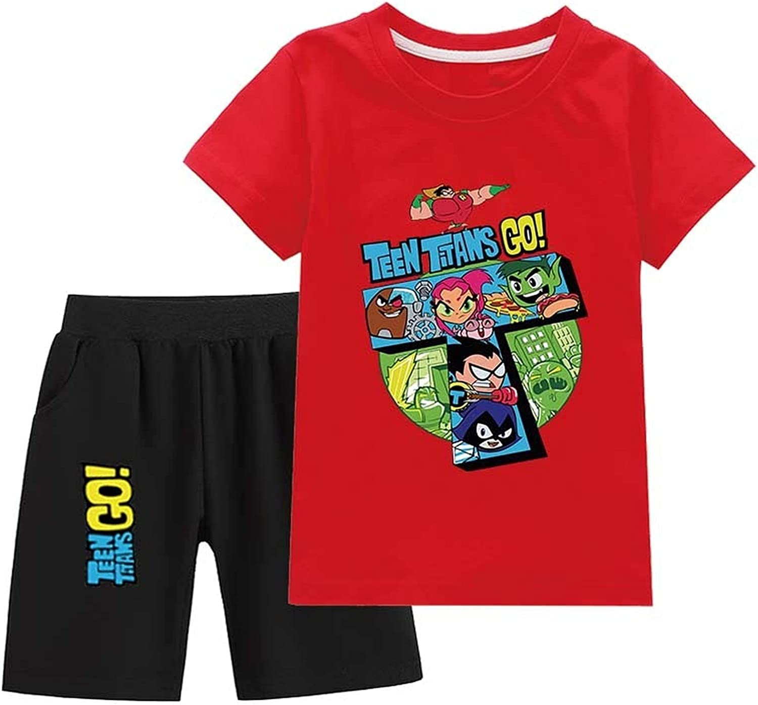 Teen Titans Go! Boys and Girls Clothes Cotton Short-Sleeved T-Shirts and Shorts Summer Clothing Suits Shorts Suits (Red,160)