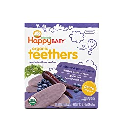 Happy Baby Gentle Teethers Organic Teething Wafers Blueberry Purple Carrot, 0.14 Ounce Packets (Box