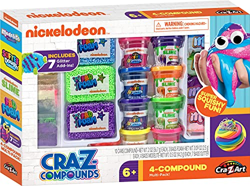 Nickelodeon CRA-Z-Compounds Variety Multi-Pack Featuring Softee Dough, Modelite, Slime and Fab Foam