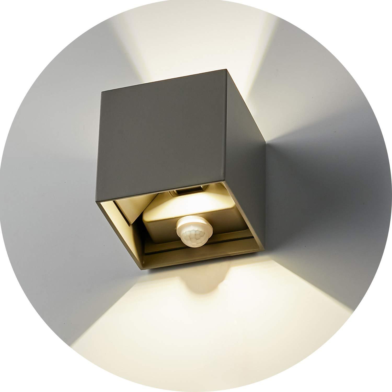 Topmo-plus 12w Bañadores de pared Sensor Movimiento Focos pared Arriba y Abajo orientable/interior/exterior Puri COB/moderno Iluminación al aire libre apliques aluminio Diseño 4000K 10CM (Gris): Amazon.es: Iluminación