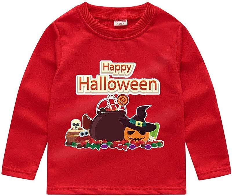 Jin Co Toddler Baby Boys Girls Halloween Pumpkin Costume Kids Long Sleeve Printed Sweatshirt Tops