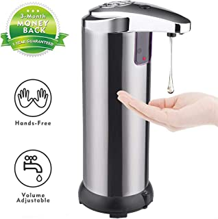 Tiapo Soap Dispenser, Touchless Automatic Soap Dispenser Equipped Stainless Steel w/Infrared Motion Sensor Waterproof Base Adjustable Switches Suitable for Bathroom Kitchen Hotel Restaurant