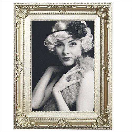 WOLTU BR9848ch Bilderrahmen Bildergalerie Fotogalerie, Foto Collage Galerie, Holz und Echtglas, Antik Vintage Schabby, Champagne, 13x18 cm