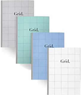 Composition Notebook Graph Paper – Plain Cover Design with Graph Pages, B5 Size 9.5 x 6.9 inch,100gsm Paper,50 Sheets/100 Pages (All Grid, 4 Pack)