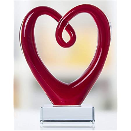 Art Glass Heart Sculpture Centerpiece Party Home Decoration Gift Murano Style Valentines Day Gifts