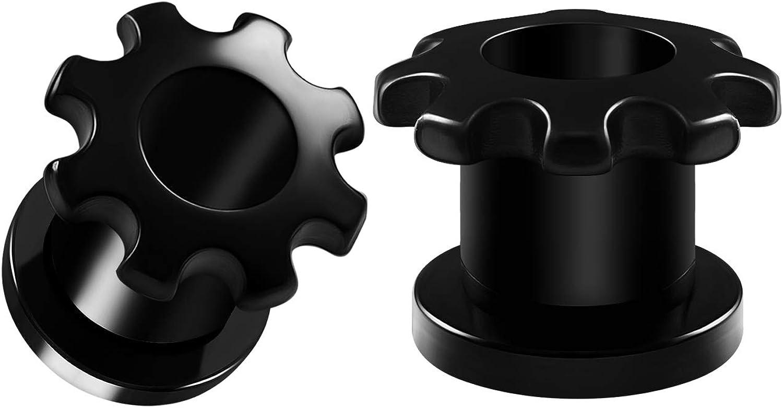 BIG GAUGES Pair of Screw Black Acrylic Tunnels Piercing Jewelry Ear Stretching Lobe Plug Tunnel Earring