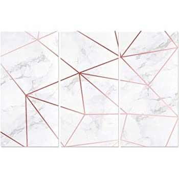 Amazon Com Yumoing 3 Panel Canvas Wall Art Marble Texture Rose Gold Geometric Pattern Wall Art Canvas Prints Wall Decor For Home Living Room Bedroom Bathroom Wall Decor Posters 15 X30 Piece Posters Prints