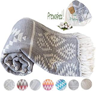 Mebien Turkish Beach Bath Towel Peshtemal-Luxury Prewashed Cotton Blanket Vintage D.Grey 33x66inches
