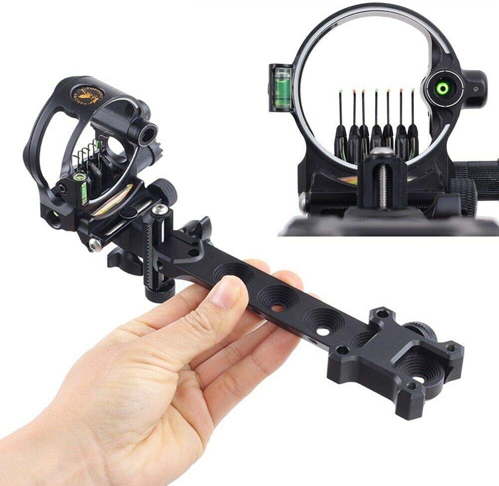 "Archery Compound Bow Sight 5 broches 0.019/"" Micro Réglable 2/"" HD fibre garde"
