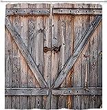 YULUOSHA Cortina de ducha rústica de tela con diseño de madera, color marrón, gris, con ganchos, impermeable, lavable, 182,88 x 182,88 cm