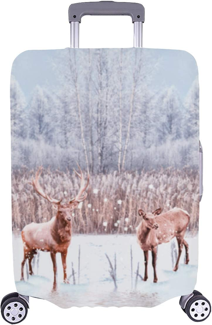 Vintage Luggage Trust Cover Winter Max 50% OFF Landscape Portrait Deer Was Durable