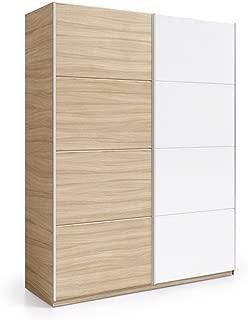 Habitdesign ARC184W - Armario 2 Puertas correderas, Color Nature y Blanco Brillo, Medidas: 180 cm (Largo) x 200 (Alto) x 63 cm (Fondo)
