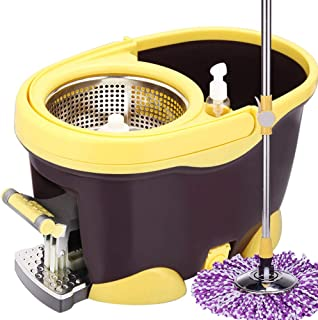 Rotate the mop bucket, send 2 microfiber heads and 1 floor cleaning brush 360 magic hand pressure rotary mop and pedal bucket 2 in 1 for floor cleaning rotation YZPXZTB (color : Yellow)