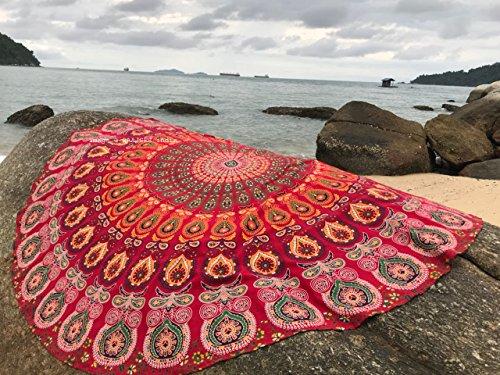 raajsee Red Mandala Round Beach Tapestry Hippie/Boho Beach Blanket Roundie/Indian Cotton Throw Bohemian Round Table Cloth/Yoga Mat Meditation Picnic Rugs 70 inch Circle