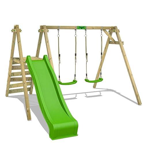 FATMOOSE Portique de balançoire JollyJack Star XXL double-balançoire en bois avec plateforme et toboggan avec 2 sièges de balançoire