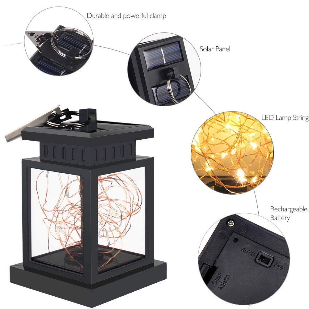 2 piezas Farol solar impermeable para colgar luces solares de ...