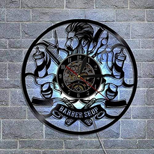 Barbershop vinyle horloge coiffeur coiffure salon de beauté salon de vinyle record mural horloge décoration murale art cadeau à la main,Black,12inch