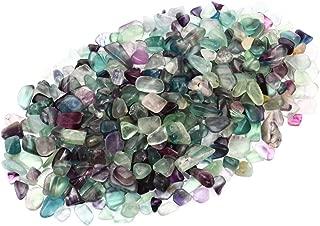 ZenQ 1 lb Fluorite Tumbled Stone Chips Crushed Natural Crystal Quartz Pieces