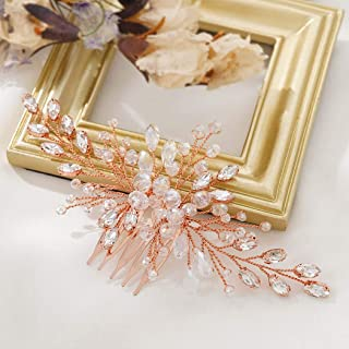 Asooll Wedding Crystal Hair Comb Bride Rhinestone Hair Piece Bridal Hair Accessories for Women and Girl (Rose Gold)