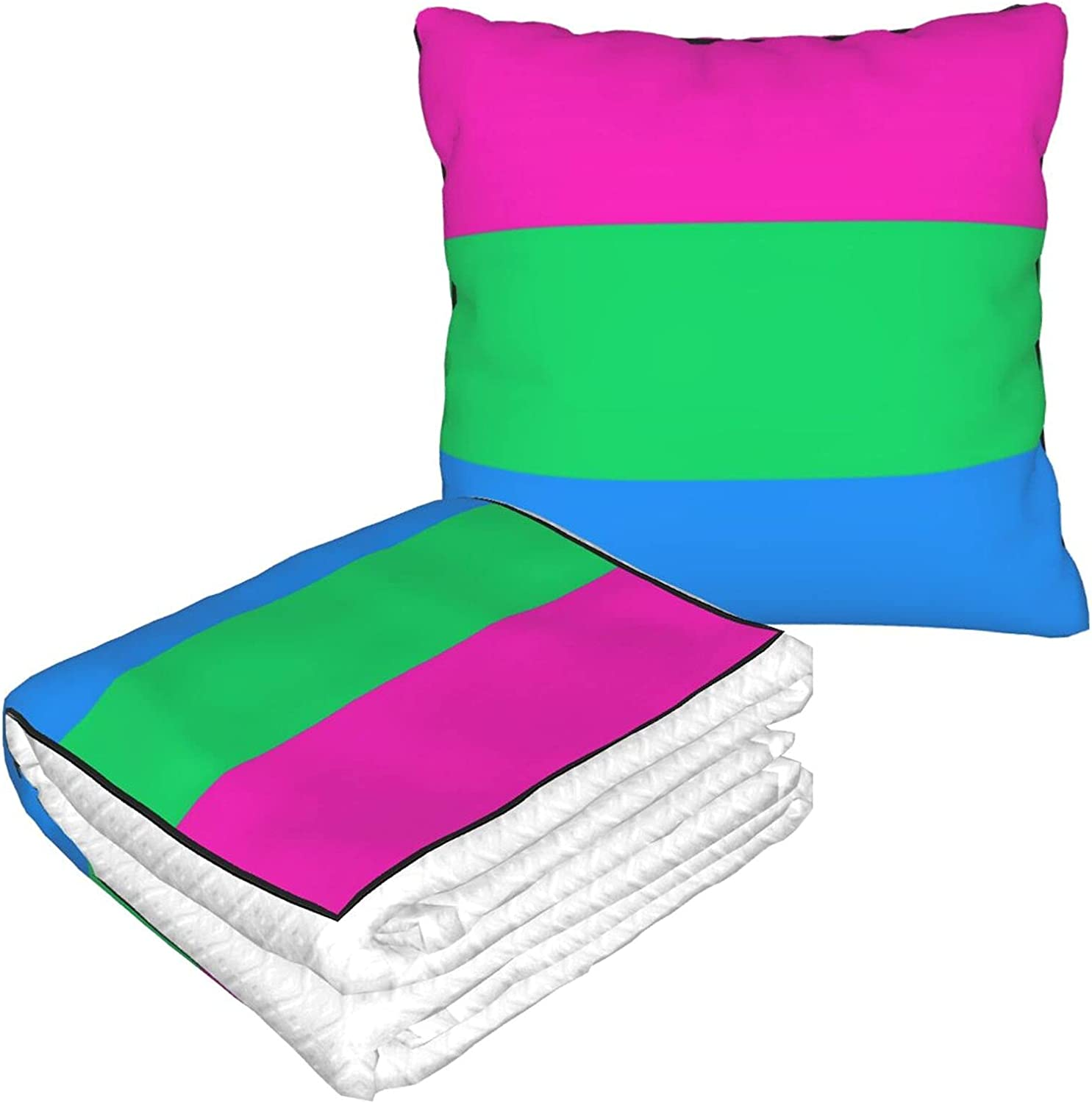 Foldable Year-end annual account Pillow Blanket PolySexual Year-end gift Pride Flag for Travel LGBTQ