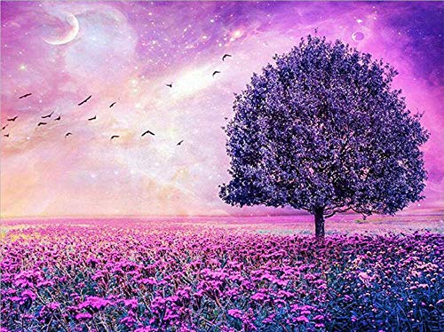 Lavender Flower Sea Diamond Painting - MaiYiYi 5D Full Round Diamond Painting Kits for Adults - Crystal Rhinestones Diamond Painting Dots Art Wall Decor Gift for Kids (40 x 30 cm)