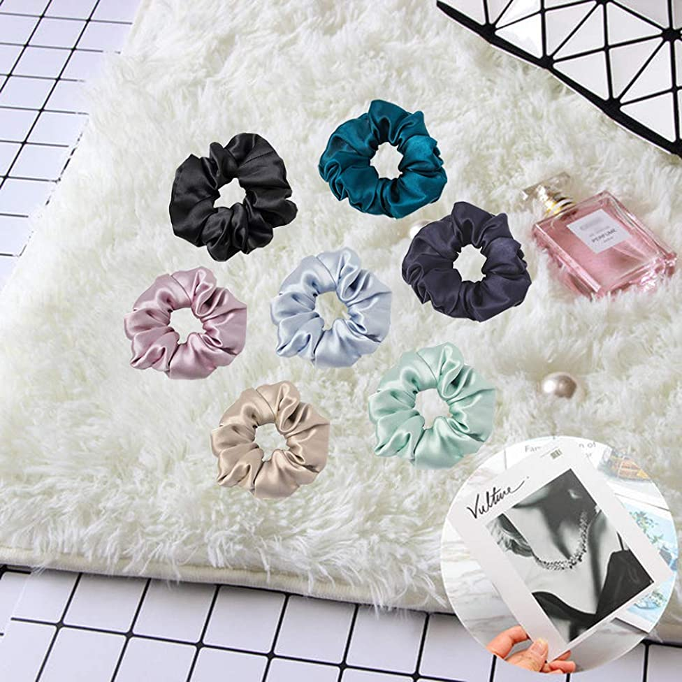 LilySilk 7 Pack Silk Scrunchies Charmeuse -Silky Scrunchy -Scrunchies For Hair -for Girls- for Women Soft Hair Care Set
