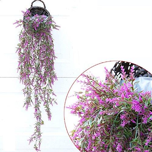 Yosposs 2 pcs Paille et panier en osier Osier Pots de fleurs Fleur Décoration murale à suspendre Pot de fleurs à suspendre rustique en rotin Demi Hive murale à suspendre Panier Only Purple Artificial Flower