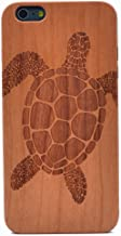 iphone 6 Plus Case Sea Turtle Pattern Handmade Carving Real Wooden Wood Case Cover with TPU Case for Apple iphone 6S Plus (Only 5.5'')